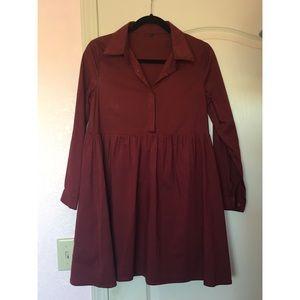 SHEIN Red Button Up Dress